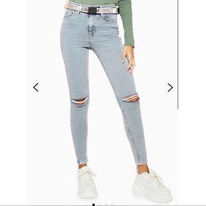 TopShop Bleach Ripped Jamie Skinny Jeans. 25x30.